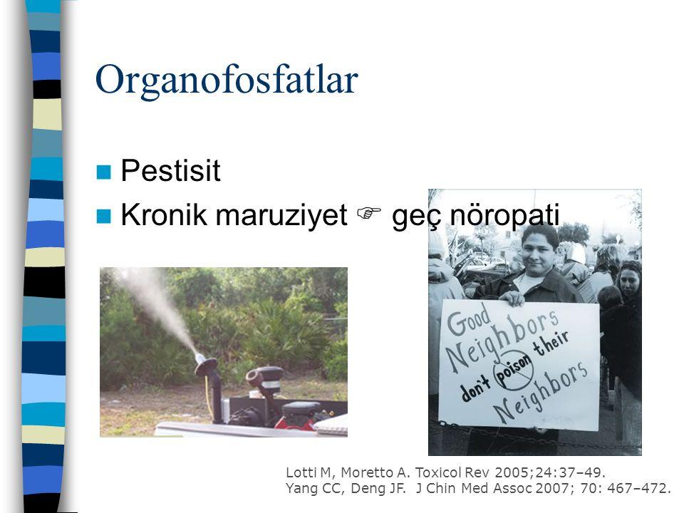 Organofosfatlar Pestisit Kronik maruziyet  geç nöropati Lotti M, Moretto A.