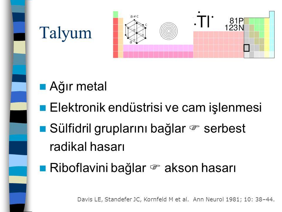 Talyum Ağır metal Elektronik endüstrisi ve cam işlenmesi Sülfidril gruplarını bağlar  serbest radikal hasarı Riboflavini bağlar  akson hasarı Davis LE, Standefer JC, Kornfeld M et al.