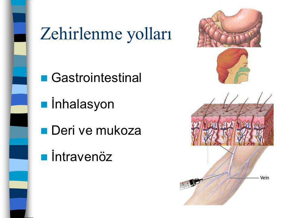 Zehirlenme yolları Gastrointestinal İnhalasyon Deri ve mukoza İntravenöz