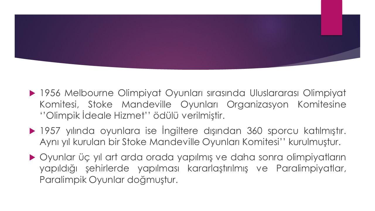 Paralimpik Oyunlar  Paralimpik oyunlar, çeşitli engelli guruplarından sporcuların katıldığı çok sporlu etkinliktir.