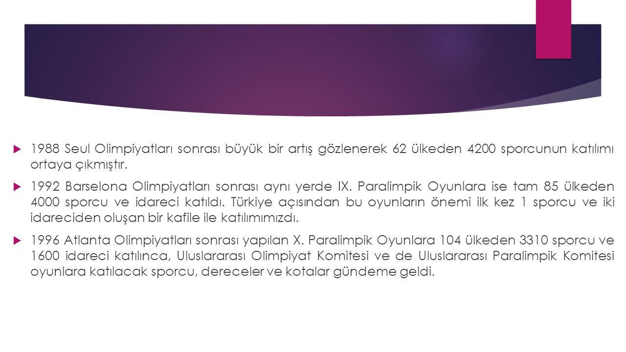 Türkiye Özürlüler Spor Federasyonu  Ülkemizde 8 – 11 Mayıs 1990 tarihinde Ankara'da bir Spor Şurası toplanmıştı.