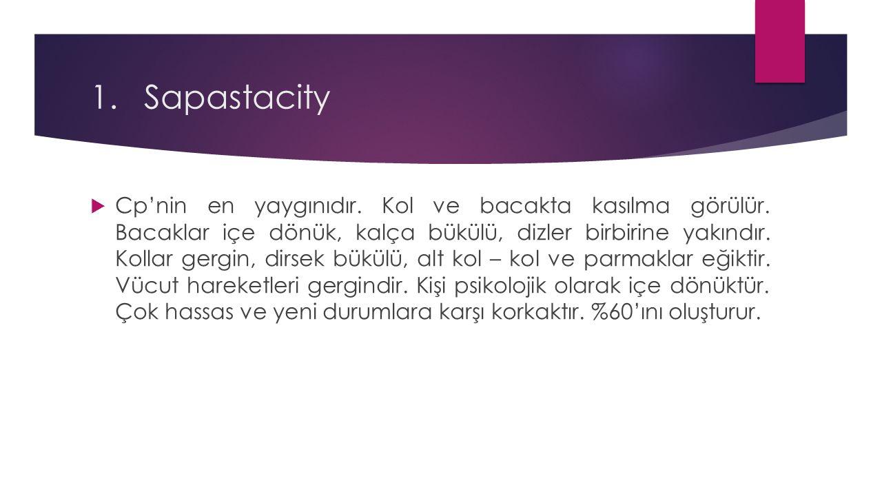 1.Sapastacity  Cp'nin en yaygınıdır. Kol ve bacakta kasılma görülür. Bacaklar içe dönük, kalça bükülü, dizler birbirine yakındır. Kollar gergin, dirs