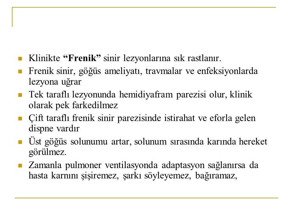 """Klinikte """"Frenik"""" sinir lezyonlarına sık rastlanır. Frenik sinir, göğüs ameliyatı, travmalar ve enfeksiyonlarda lezyona uğrar Tek taraflı lezyonunda h"""
