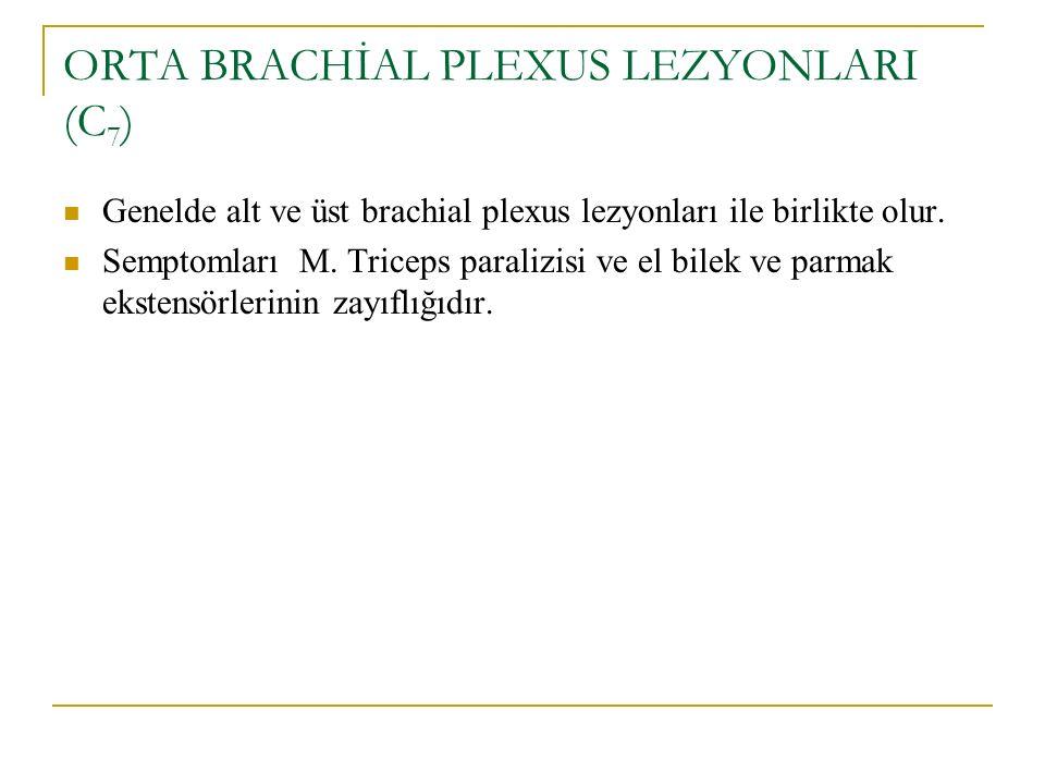 ORTA BRACHİAL PLEXUS LEZYONLARI (C 7 ) Genelde alt ve üst brachial plexus lezyonları ile birlikte olur. Semptomları M. Triceps paralizisi ve el bilek