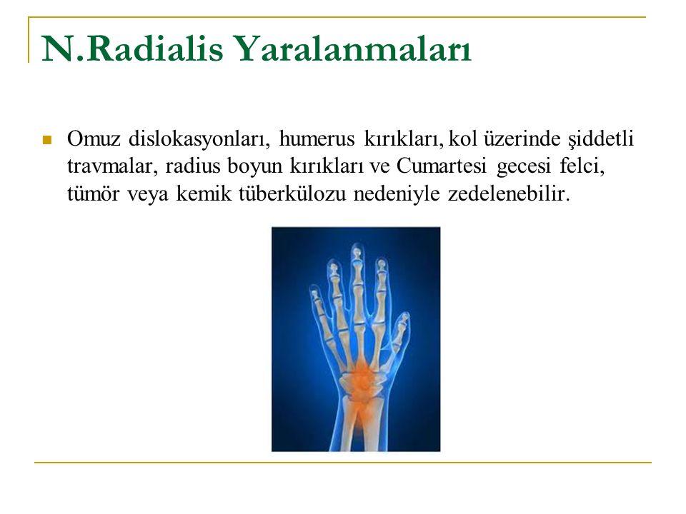 N.Radialis Yaralanmaları Omuz dislokasyonları, humerus kırıkları, kol üzerinde şiddetli travmalar, radius boyun kırıkları ve Cumartesi gecesi felci, tümör veya kemik tüberkülozu nedeniyle zedelenebilir.