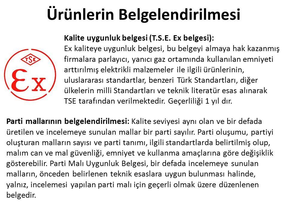 Kalite uygunluk belgesi (T.S.E. Ex belgesi): Ex kaliteye uygunluk belgesi, bu belgeyi almaya hak kazanmış firmalara parlayıcı, yanıcı gaz ortamında ku