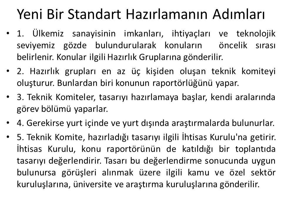 Yeni Bir Standart Hazırlamanın Adımları 1. Ülkemiz sanayisinin imkanları, ihtiyaçları ve teknolojik seviyemiz gözde bulundurularak konuların öncelik s