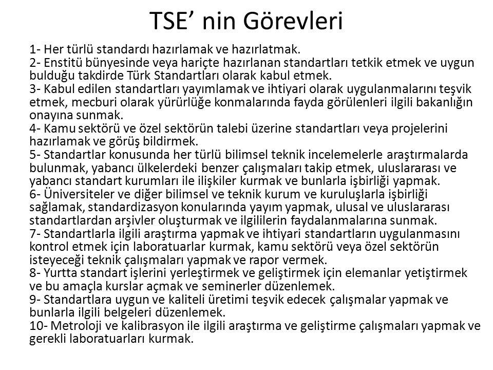 TSE' nin Görevleri 1- Her türlü standardı hazırlamak ve hazırlatmak. 2- Enstitü bünyesinde veya hariçte hazırlanan standartları tetkik etmek ve uygun