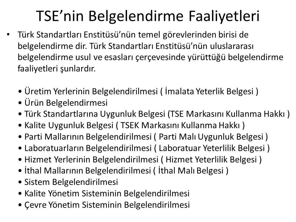 TSE'nin Belgelendirme Faaliyetleri Türk Standartları Enstitüsü'nün temel görevlerinden birisi de belgelendirme dir. Türk Standartları Enstitüsü'nün ul