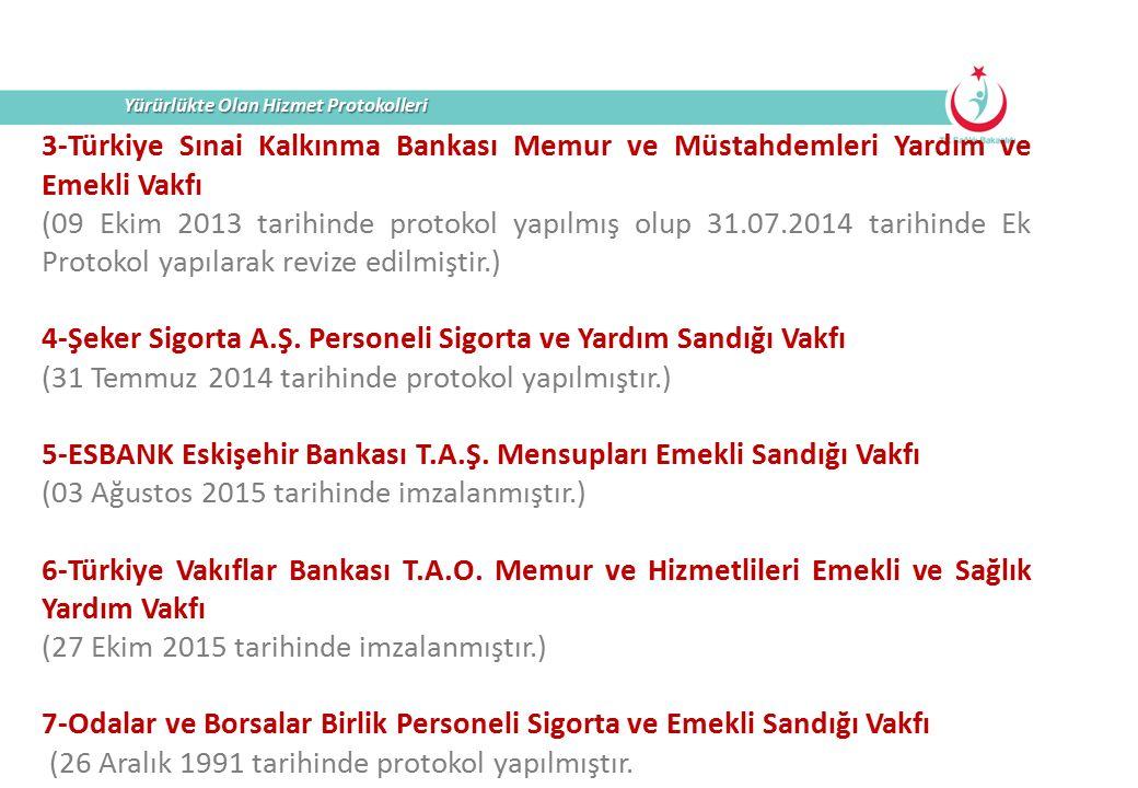 Yürürlükte Olan Hizmet Protokolleri 3-Türkiye Sınai Kalkınma Bankası Memur ve Müstahdemleri Yardım ve Emekli Vakfı (09 Ekim 2013 tarihinde protokol ya
