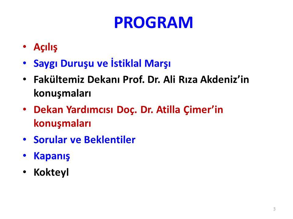 PROGRAM Açılış Saygı Duruşu ve İstiklal Marşı Fakültemiz Dekanı Prof. Dr. Ali Rıza Akdeniz'in konuşmaları Dekan Yardımcısı Doç. Dr. Atilla Çimer'in ko