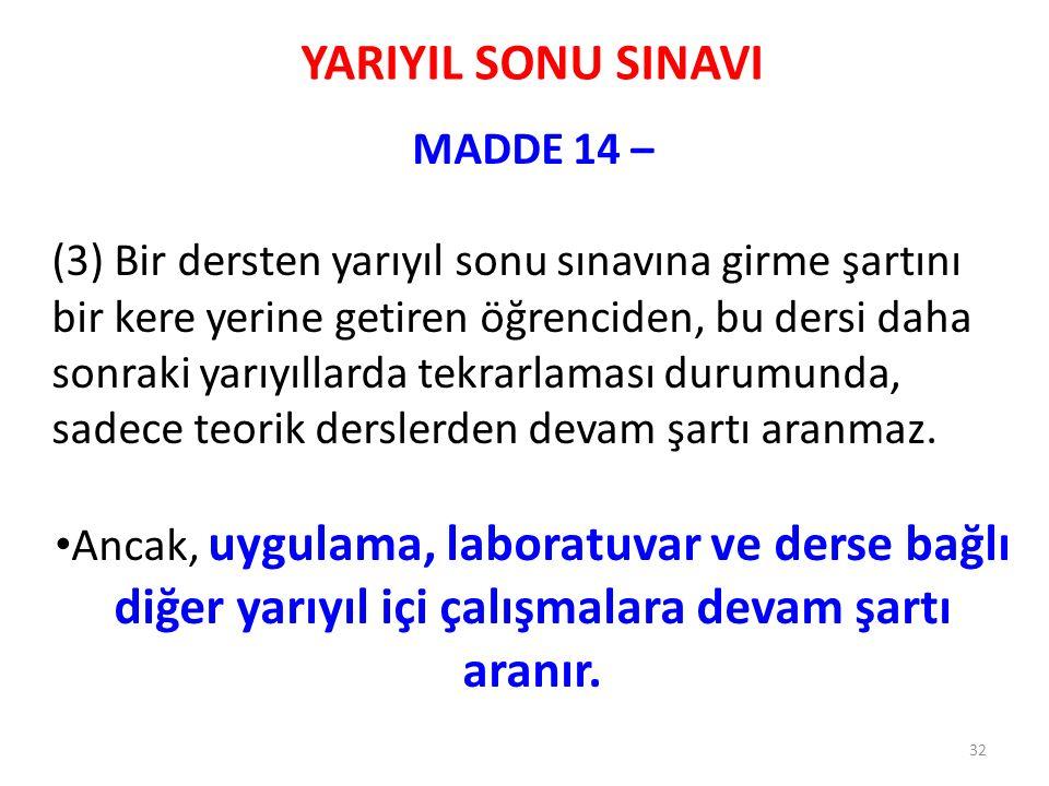 YARIYIL SONU SINAVI MADDE 14 – (3) Bir dersten yarıyıl sonu sınavına girme şartını bir kere yerine getiren öğrenciden, bu dersi daha sonraki yarıyılla