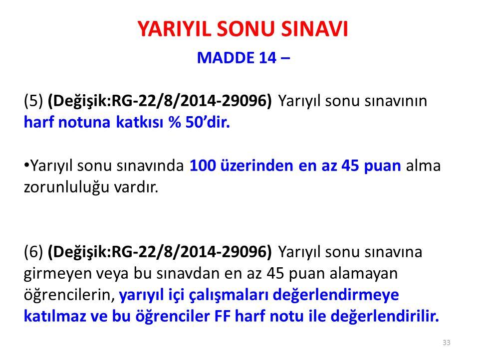 YARIYIL SONU SINAVI MADDE 14 – (5) (Değişik:RG-22/8/2014-29096) Yarıyıl sonu sınavının harf notuna katkısı % 50'dir. Yarıyıl sonu sınavında 100 üzerin