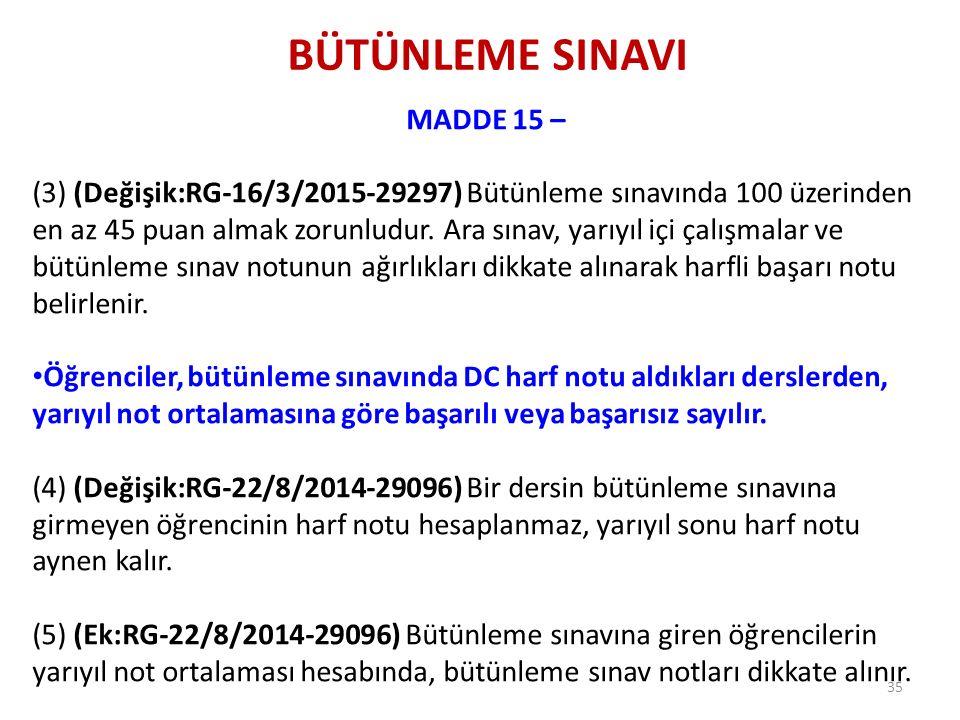 BÜTÜNLEME SINAVI MADDE 15 – (3) (Değişik:RG-16/3/2015-29297) Bütünleme sınavında 100 üzerinden en az 45 puan almak zorunludur. Ara sınav, yarıyıl içi