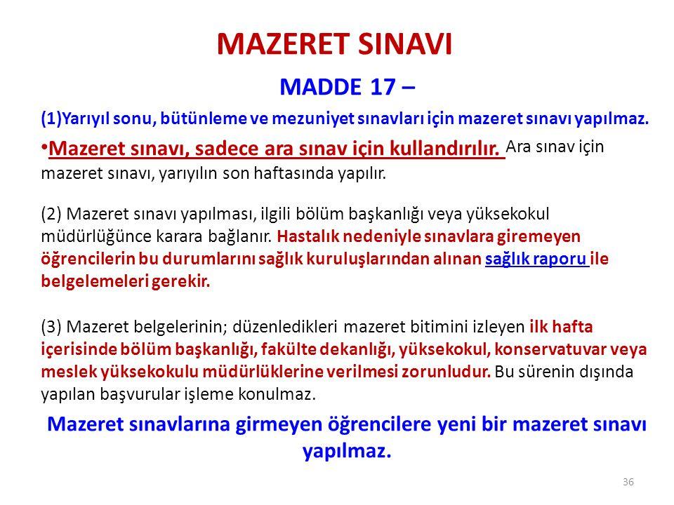 MAZERET SINAVI MADDE 17 – (1)Yarıyıl sonu, bütünleme ve mezuniyet sınavları için mazeret sınavı yapılmaz. Mazeret sınavı, sadece ara sınav için kullan