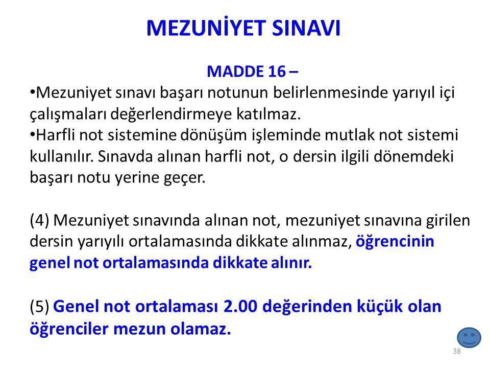 MEZUNİYET SINAVI MADDE 16 – Mezuniyet sınavı başarı notunun belirlenmesinde yarıyıl içi çalışmaları değerlendirmeye katılmaz. Harfli not sistemine dön