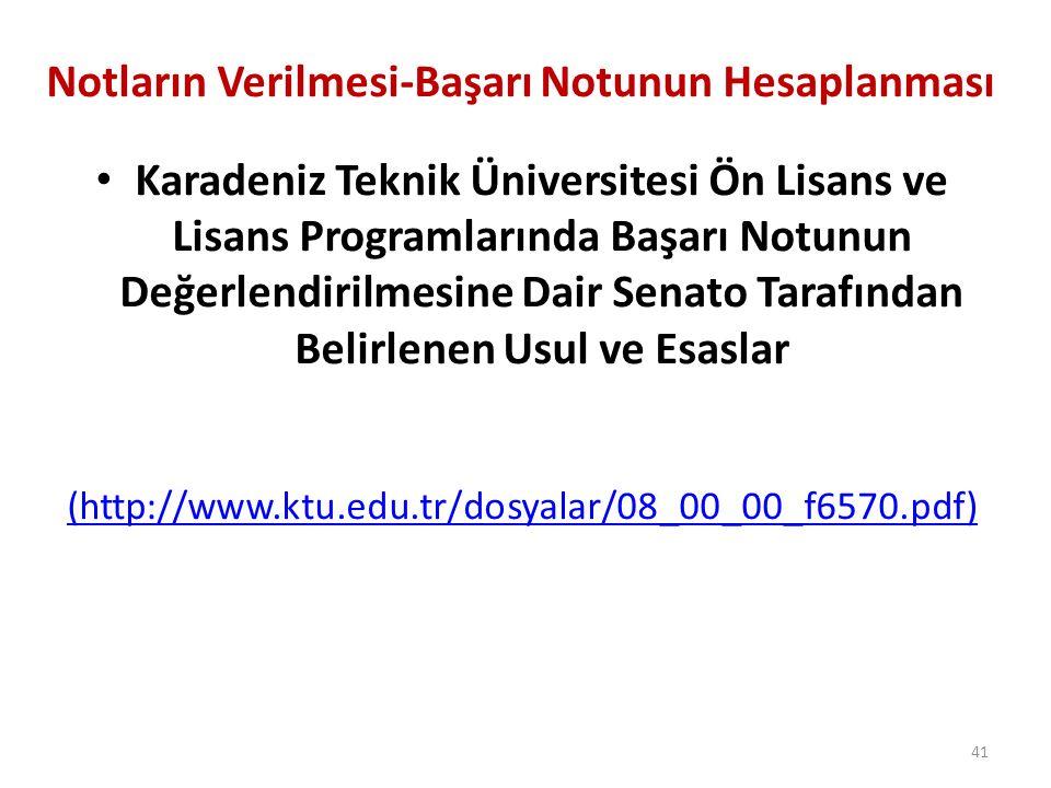 Notların Verilmesi-Başarı Notunun Hesaplanması Karadeniz Teknik Üniversitesi Ön Lisans ve Lisans Programlarında Başarı Notunun Değerlendirilmesine Dai