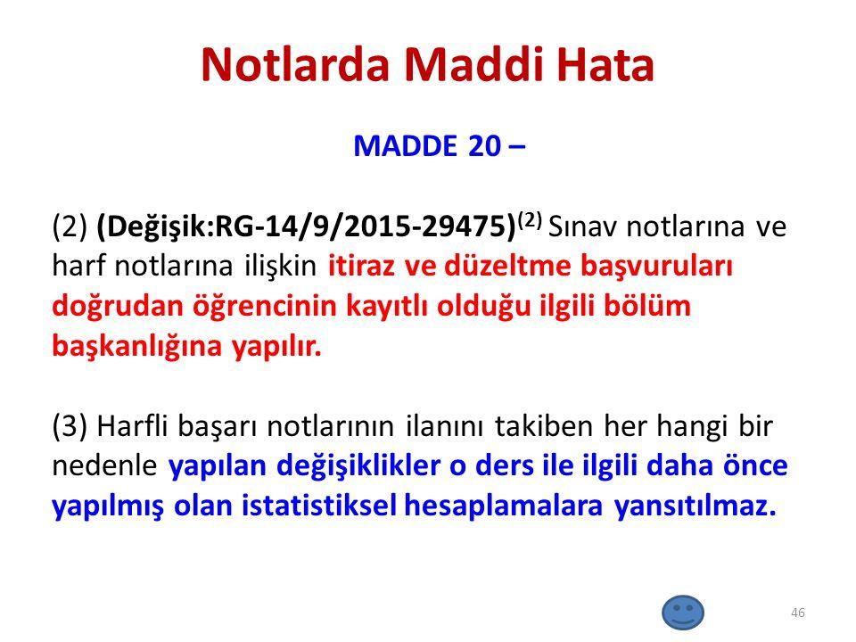 Notlarda Maddi Hata MADDE 20 – (2) (Değişik:RG-14/9/2015-29475) (2) Sınav notlarına ve harf notlarına ilişkin itiraz ve düzeltme başvuruları doğrudan