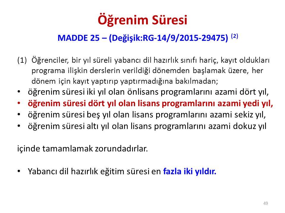Öğrenim Süresi MADDE 25 – (Değişik:RG-14/9/2015-29475) (2) (1)Öğrenciler, bir yıl süreli yabancı dil hazırlık sınıfı hariç, kayıt oldukları programa i
