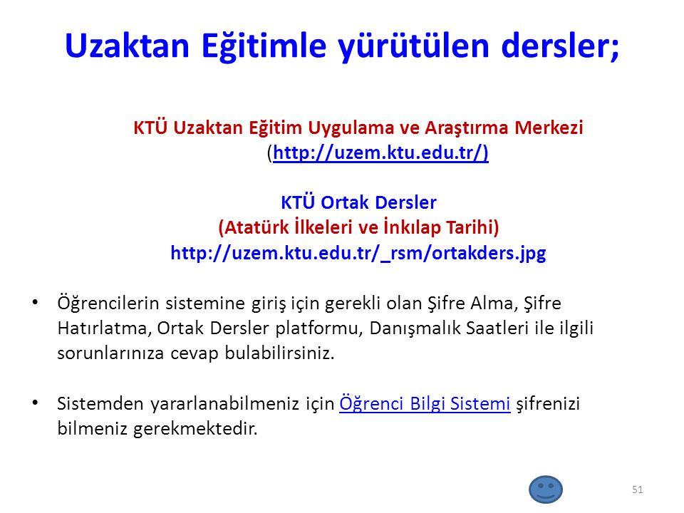 Uzaktan Eğitimle yürütülen dersler; KTÜ Uzaktan Eğitim Uygulama ve Araştırma Merkezi (http://uzem.ktu.edu.tr/)http://uzem.ktu.edu.tr/) KTÜ Ortak Dersl