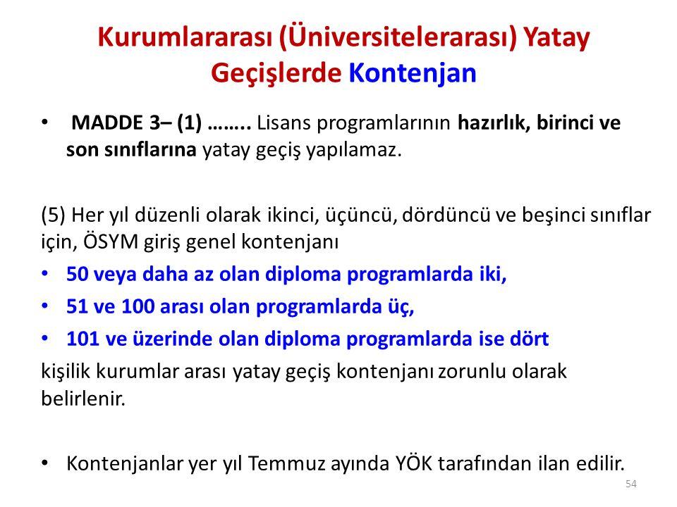 Kurumlararası (Üniversitelerarası) Yatay Geçişlerde Kontenjan MADDE 3– (1) …….. Lisans programlarının hazırlık, birinci ve son sınıflarına yatay geçiş