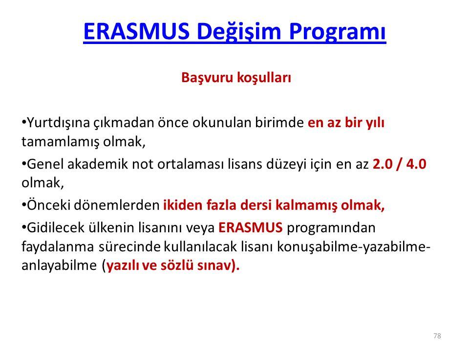 ERASMUS Değişim Programı Başvuru koşulları Yurtdışına çıkmadan önce okunulan birimde en az bir yılı tamamlamış olmak, Genel akademik not ortalaması li