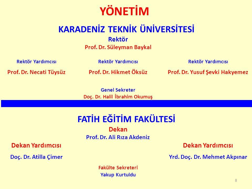 YÖNETİM 8 KARADENİZ TEKNİK ÜNİVERSİTESİ Rektör Prof. Dr. Süleyman Baykal Rektör Yardımcısı Prof. Dr. Necati TüysüzProf. Dr. Hikmet ÖksüzProf. Dr. Yusu