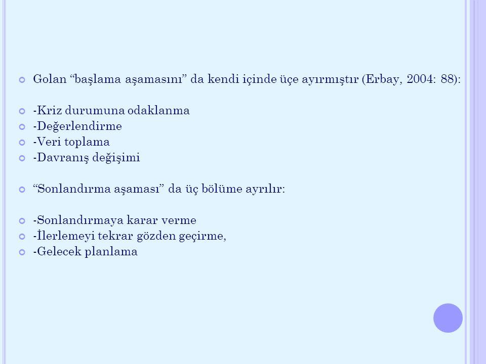 """Golan """"başlama aşamasını"""" da kendi içinde üçe ayırmıştır (Erbay, 2004: 88): -Kriz durumuna odaklanma -Değerlendirme -Veri toplama -Davranış değişimi """""""