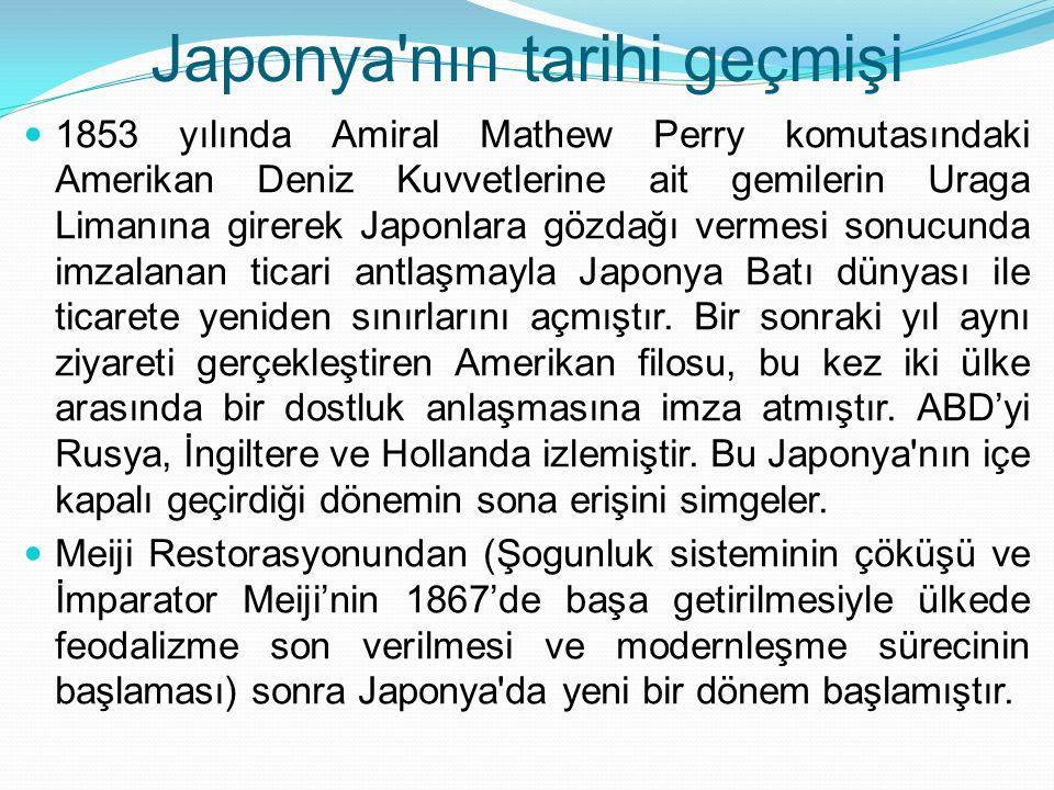 Japonya'nın tarihi geçmişi 1853 yılında Amiral Mathew Perry komutasındaki Amerikan Deniz Kuvvetlerine ait gemilerin Uraga Limanına girerek Japonlara g