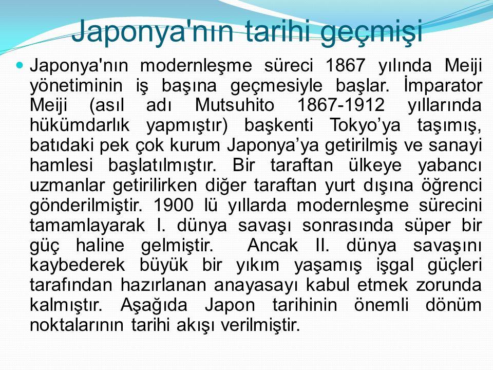 Japonya'nın tarihi geçmişi Japonya'nın modernleşme süreci 1867 yılında Meiji yönetiminin iş başına geçmesiyle başlar. İmparator Meiji (asıl adı Mutsuh