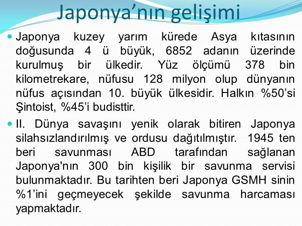 Japonya'nın gelişimi Japonya kuzey yarım kürede Asya kıtasının doğusunda 4 ü büyük, 6852 adanın üzerinde kurulmuş bir ülkedir. Yüz ölçümü 378 bin kilo
