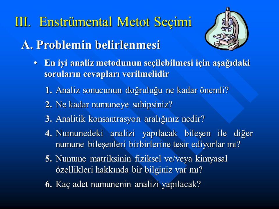 III.Enstrümental Metot Seçimi A. Problemin belirlenmesi En iyi analiz metodunun seçilebilmesi için aşağıdaki soruların cevapları verilmelidirEn iyi an