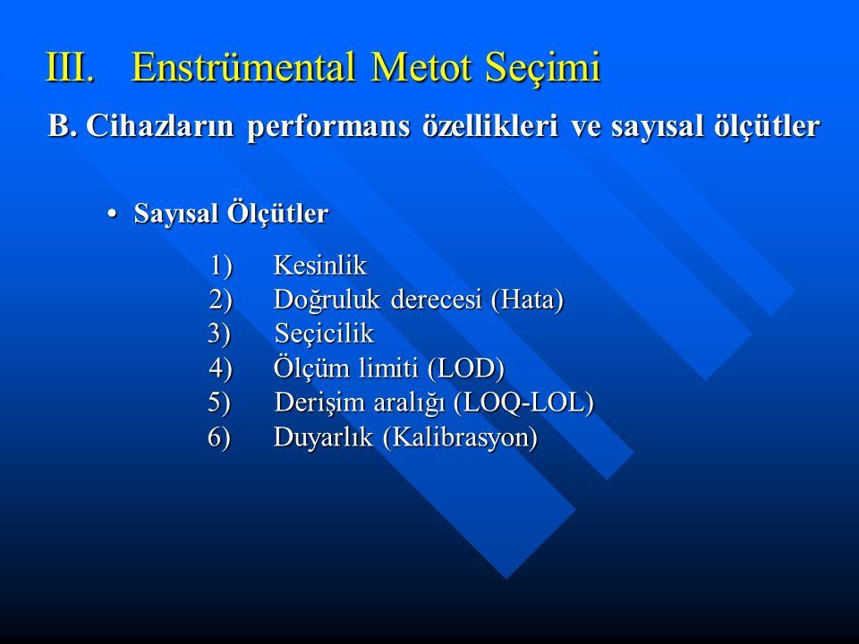 III. Enstrümental Metot Seçimi B. Cihazların performans özellikleri ve sayısal ölçütler Sayısal ÖlçütlerSayısal Ölçütler 1)Kesinlik 2)Doğruluk dereces