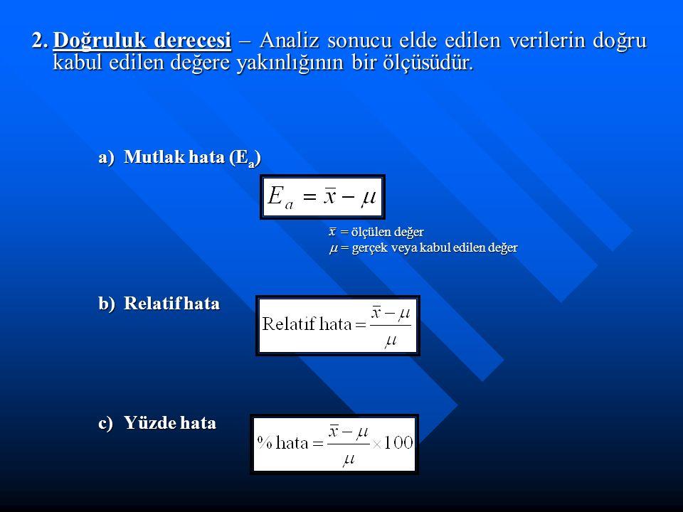 2.Doğruluk derecesi – Analiz sonucu elde edilen verilerin doğru kabul edilen değere yakınlığının bir ölçüsüdür. b)Relatif hata c)Yüzde hata a)Mutlak h