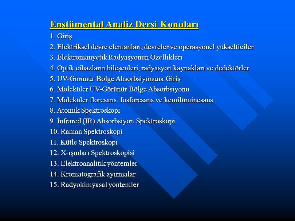 Enstümental Analiz Dersi Konuları 1. Giriş 2. Elektriksel devre elemanları, devreler ve operasyonel yükselticiler 3. Elektromanyetik Radyasyonun Özell