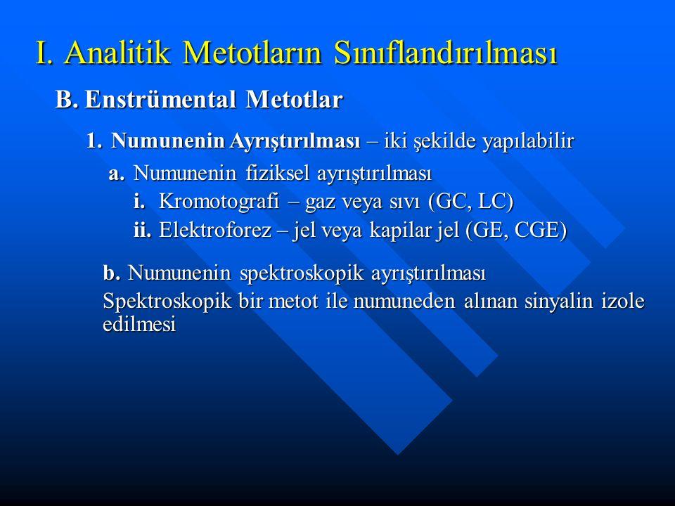 I. Analitik Metotların Sınıflandırılması B.Enstrümental Metotlar 1.Numunenin Ayrıştırılması – iki şekilde yapılabilir a.Numunenin fiziksel ayrıştırılm