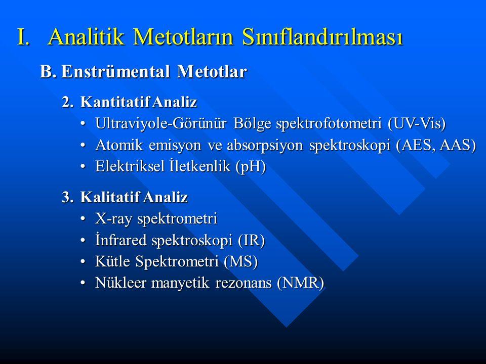 I. Analitik Metotların Sınıflandırılması B.Enstrümental Metotlar 2.Kantitatif Analiz Ultraviyole-Görünür Bölge spektrofotometri (UV-Vis)Ultraviyole-Gö