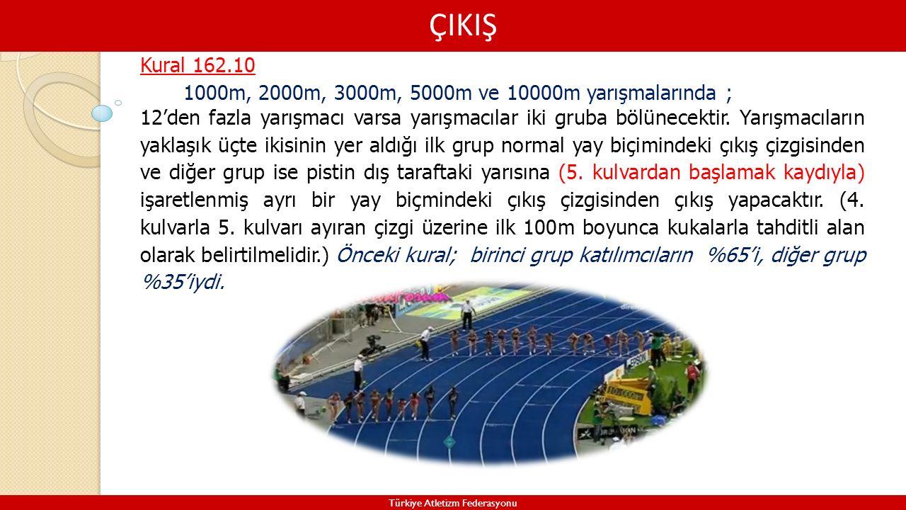 ÇIKIŞ Türkiye Atletizm Federasyonu Kural 162.10 1000m, 2000m, 3000m, 5000m ve 10000m yarışmalarında ; 12'den fazla yarışmacı varsa yarışmacılar iki gr