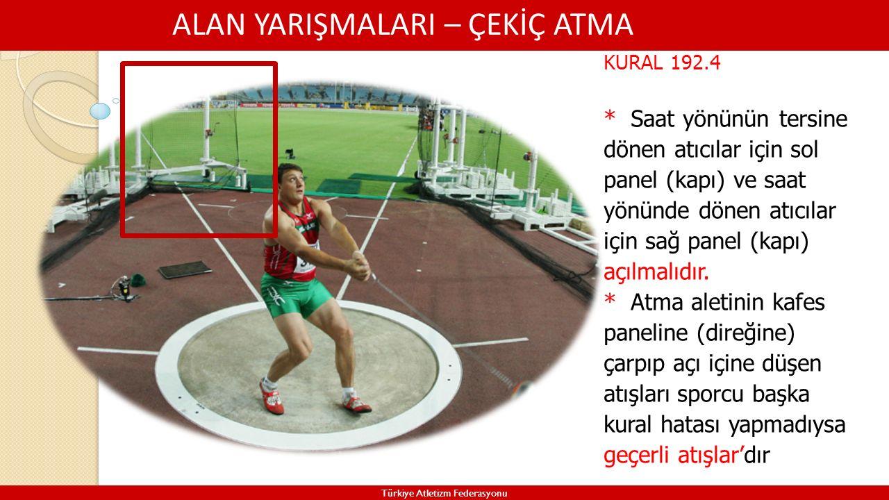 ALAN YARIŞMALARI – ÇEKİÇ ATMA Türkiye Atletizm Federasyonu KURAL 192.4 * Saat yönünün tersine dönen atıcılar için sol panel (kapı) ve saat yönünde dön