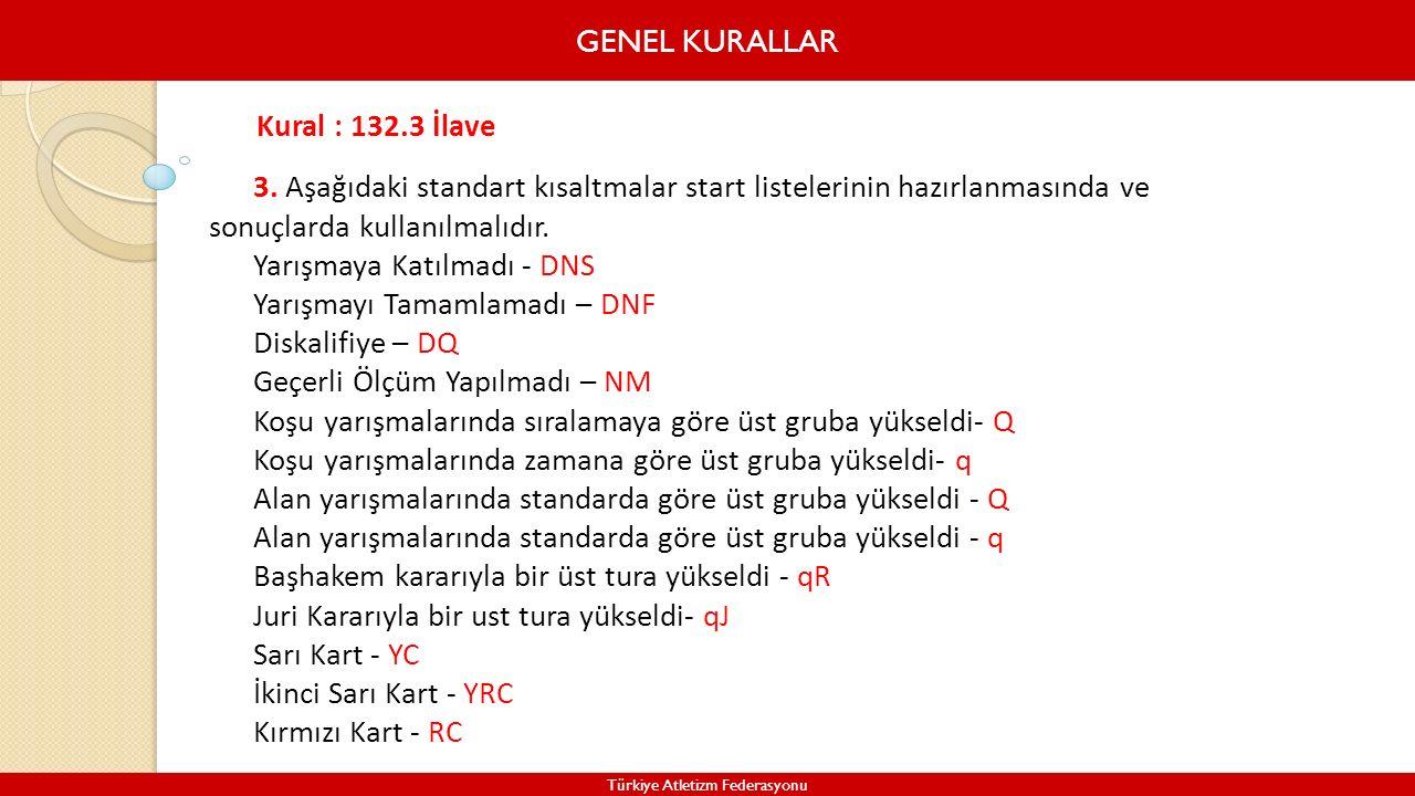 GENEL KURALLAR Türkiye Atletizm Federasyonu 3. Aşağıdaki standart kısaltmalar start listelerinin hazırlanmasında ve sonuçlarda kullanılmalıdır. Yarışm