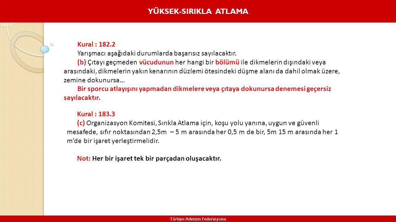 YÜKSEK-SIRIKLA ATLAMA Türkiye Atletizm Federasyonu. Kural : 182.2 Yarışmacı aşağıdaki durumlarda başarısız sayılacaktır. (b) Çıtayı geçmeden vücudunun