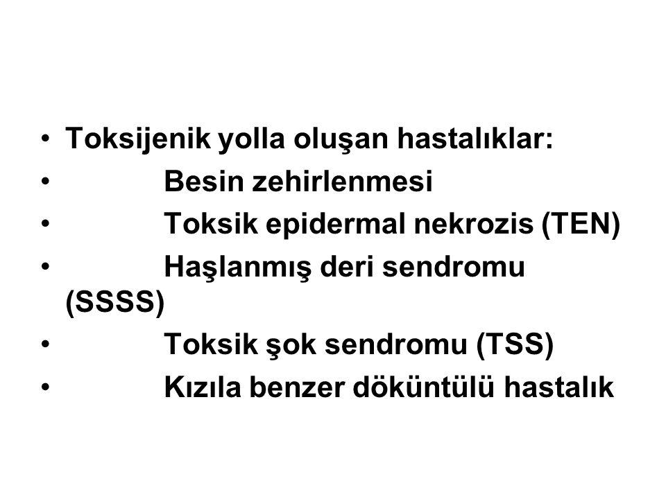 Toksijenik yolla oluşan hastalıklar: Besin zehirlenmesi Toksik epidermal nekrozis (TEN) Haşlanmış deri sendromu (SSSS) Toksik şok sendromu (TSS) Kızıl