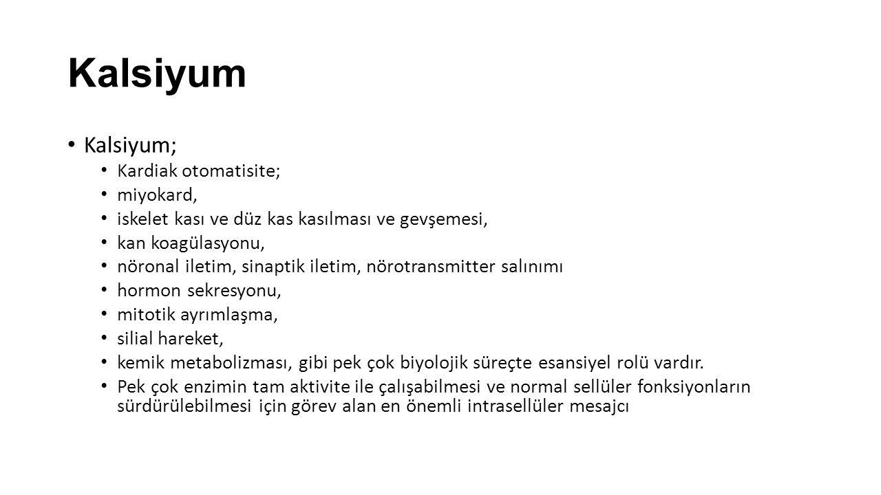 Kalsiyum Kalsiyum; Kardiak otomatisite; miyokard, iskelet kası ve düz kas kasılması ve gevşemesi, kan koagülasyonu, nöronal iletim, sinaptik iletim, n