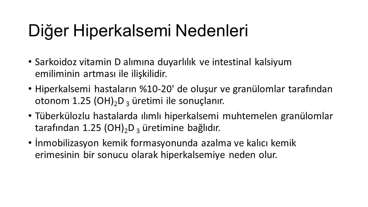 Diğer Hiperkalsemi Nedenleri Sarkoidoz vitamin D alımına duyarlılık ve intestinal kalsiyum emiliminin artması ile ilişkilidir. Hiperkalsemi hastaların