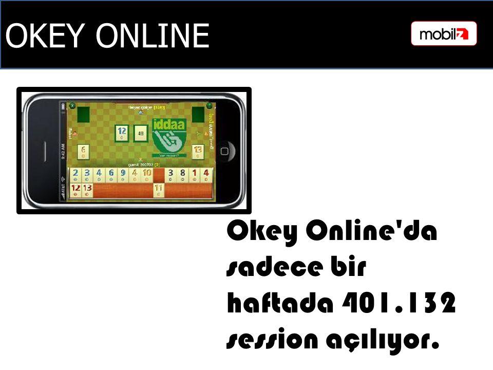 OKEY ONLINE Okey Online da sadece bir haftada 401.132 session açılıyor.