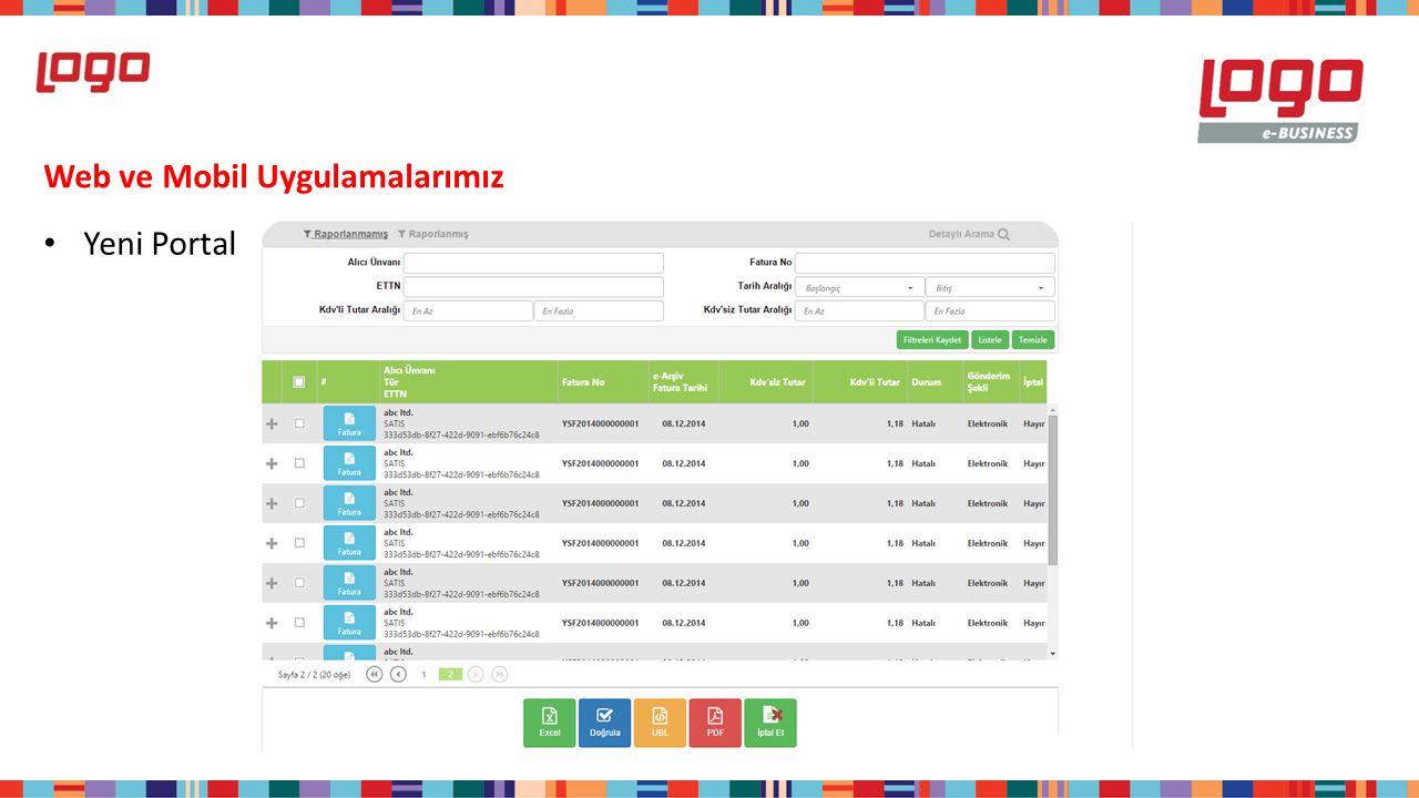 Web ve Mobil Uygulamalarımız Yeni Portal