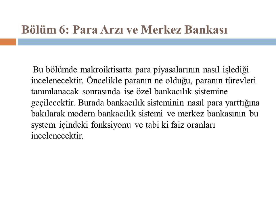 Bölüm 6: Para Arzı ve Merkez Bankası Bu bölümde makroiktisatta para piyasalarının nasıl işlediği incelenecektir.