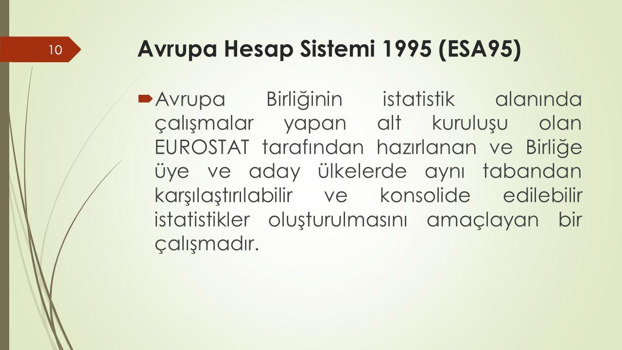 Avrupa Hesap Sistemi 1995 (ESA95)  Avrupa Birliğinin istatistik alanında çalışmalar yapan alt kuruluşu olan EUROSTAT tarafından hazırlanan ve Birliğe