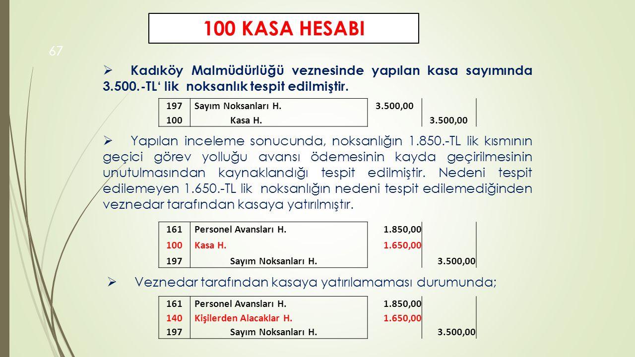 67  Yapılan inceleme sonucunda, noksanlığın 1.850.-TL lik kısmının geçici görev yolluğu avansı ödemesinin kayda geçirilmesinin unutulmasından kaynakl