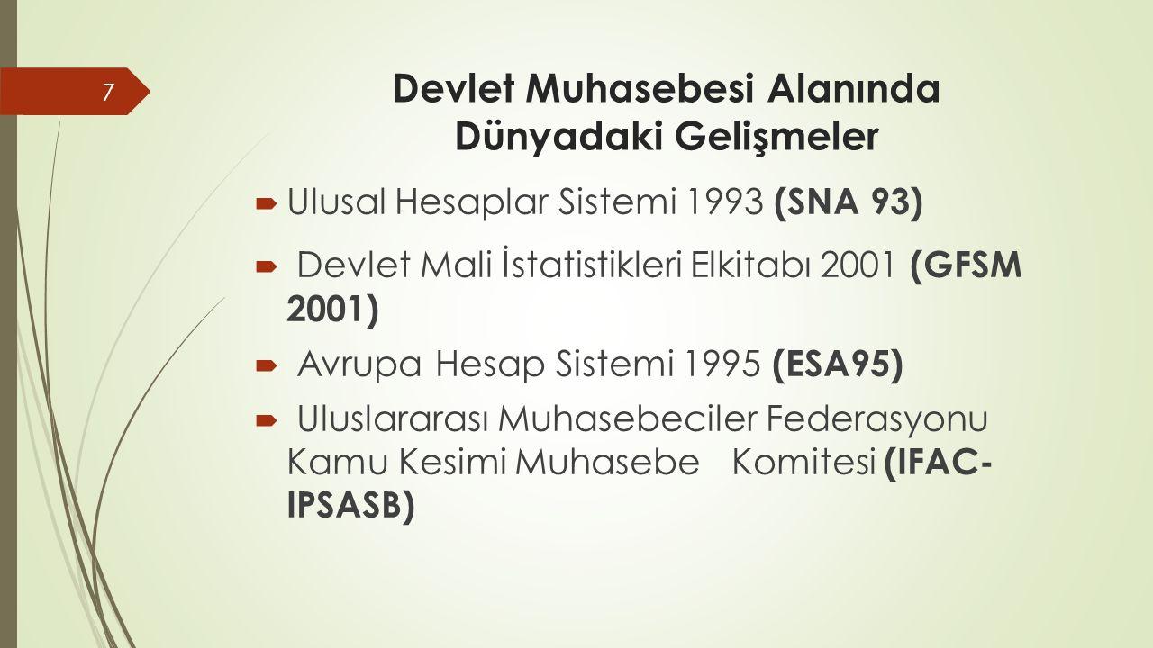 Devlet Muhasebesi Alanında Dünyadaki Gelişmeler  Ulusal Hesaplar Sistemi 1993 (SNA 93)  Devlet Mali İstatistikleri Elkitabı 2001 (GFSM 2001)  Avrup